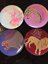 Pottery Barn Kids Set Of 4 LION, HIPPO, Octopus, Giraffe Plates Rare