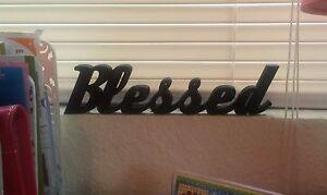 Blessed Sign Shelf Sitter Desktop Dorm Decor Wall Hanging Decor Word Art