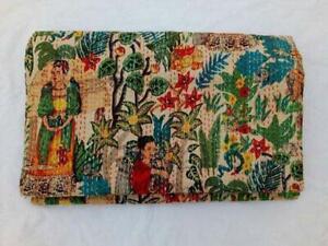 Indian Frida Kahlo Kantha Quilt Traditional Coverlet Bedding Bed Bedspread Cover