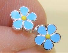 925 STERLING SILVER BLUE & WHITE ENAMEL FORGET ME NOT FLOWER  5mm STUD EARRINGS