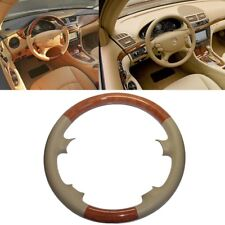 Leather Brown Wood Steering Wheel Cover Benz 2003-09 W209 CLK R230 SL W219 CLS