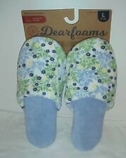 Dearfoams Women's Floral Blue Slipper's  Large 9 -10 New with tags