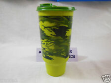 Tupperware Tumbler Camouflage  Large 32 oz. LTD Green  Free Whistle Straw New