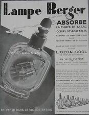 PUBLICITE LAMPE BERGER BRULE PARFUM L'OZOALCOOL DE 1929 FRENCH AD PUB ART DECO