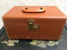 Vintage 1930's Monogrammed NM Train Case Suit Case Bakelite Handle