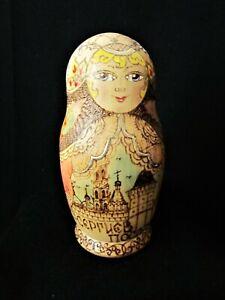 "Matryoshka Russian Nesting Dolls Natural Wood Burned Gold Accents - 7"""