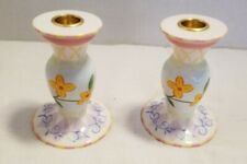 Vintage 1980'S Avon Candle Holders Two Flower Print Blue/Yellow Rare Find!