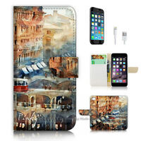 ( For iPhone 7 ) Wallet Case Cover P3048 City Paint