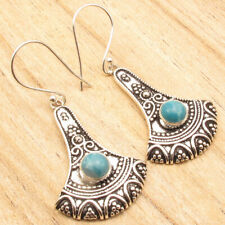 """Cabochon Simulated Larimar Earrings 2"""" Vintage Fashion ! 925 Silver Plated"""