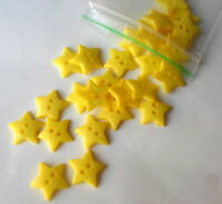 50/100 Yellow Plastic Star Buttons Bead Knitting Jewellery Making 12mm