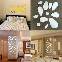 12 Pcs 3D Mirror Vinyl Removable Wall Sticker Decal Home Decor Art DIY Acrylic