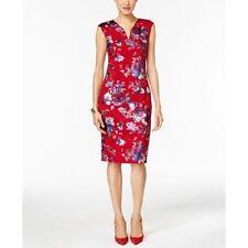 Beige by eci Red Silver Purple Floral Light-Scuba Work Social Dress 10 $98