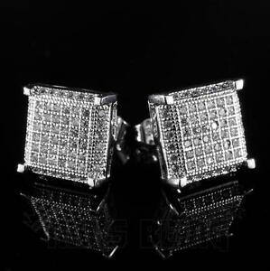 18K White Gold Bling Out Iced AAA Lab Diamond Micropave Square Stud Earring 11S