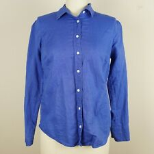 J Crew Perfect Linen Long Sleeve Button Blue Shirt Womens Sz 2 Petite