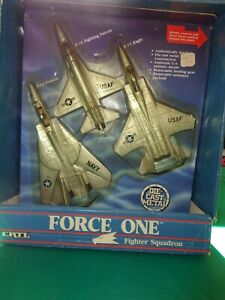 1987 Ertl Force One Fighter Squadron F-14 F-15 & F-16 Die Cast Fighter Planes