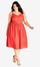 City Chic  MON CHERI RED FIT FLARE MIDI DRESS sz L = 20 W