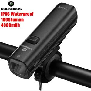 ROCKBROS Handlebar Bicycle Light 1000Lumen 4800mAh USB Bike Headlight Flashlight