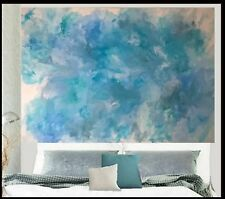XXL 1770x1220 Pastel Blue Green Grey Teal  Modern Abstract Canvas Painting Art