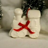 Vintage Porcelain Train Engine Christmas Ornament made in Taiwan
