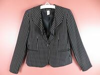 CJ0455-JONES NEW YORK Woman 100% Silk Blazer Jacket Ruffle Collar Black White 8P