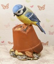Very Cute Porcelain Royal Osborne / Doulton Blue Tit on Plant Pot