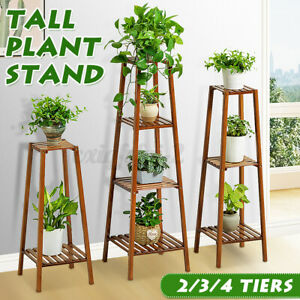 3/4 Tier Ladder Flower Shelf Plant Display Rack Planter Stand Wooden Shelving UK