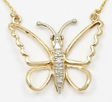 14k Two-Tone Gold Diamond Butterfly Necklace Pendant
