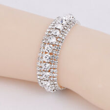 Women Sparkling Silver Crystal Rhinestone Bangle Bracelet Wedding Prom Jewelry