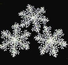 New 12 Sparkly Snowflakes Christmas Xmas Tree Decorations Ornaments Craft Party