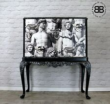 Stunning Large Upcycled Cocktail Drinks Cabinet with Fornasetti style artwork