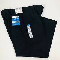 HAGGAR Men's Cool 18 Pro Dress Pants W44 x L30 Color Black Pleated Front