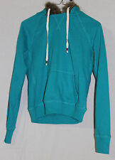 JUNIOR WOMANS TEAL GREEN LONG SLEEVED FUR LINED HOODED SWEATSHIRT SIZE SMALL