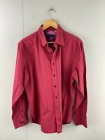David Smith Men's Long Sleeve Button Up Shirt Size 2XL Red Check