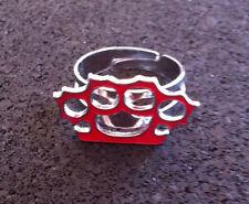 RED BRASS KNUCKLES RING Adjustable Rockabilly Punk Goth NEW