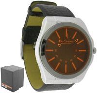 Men's Ben Sherman Orange Dial Round Black Leather Strap Gents Quartz Watch R921