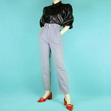 VINTAGE 90s Grunge Pastel High Waist Blue Slim Straight Trousers Pants XS 6 8
