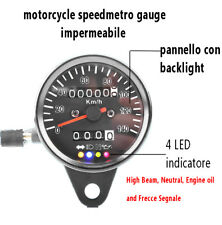 TACHIMETRO MOTO UNIVERSALE CONTACHILOMETRI 4 INDICATORE LED SPEED GAUGE 60MM NEW