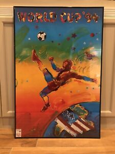 Vintage 36x24 Signed Peter Max 1994 World Cup Soccer Poster Autographed