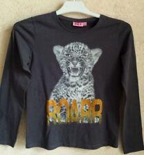 Tee Shirt manches longues fille avec inscription et dessin tigre taille 12 ans