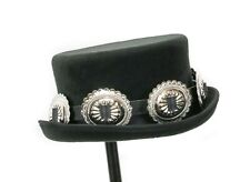 Low Short Top Hat Victorian Mad Hatter Topper Hats Oval Concho Leather Band