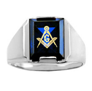 Sterling Silver Freemason Blue Stone Square & Compass Masonic Mens Ring Letter G