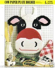 """Cow Paper Plate Holder""  plastic canvas pattern  ~ Annie's International"