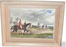SMALL OIL ON BOARD HUNTING SCENE OLD PAINTING UNSIGNED