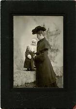 ca 1904 CABINET PHOTO VICTORIAN WOMAN AND GIRL WEARING COATS & CNTON, NY STUDIO