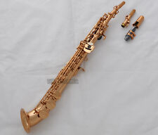 New Rose Gold Plated Soprano saxophone Saxello Bb sax High F#+G Key Leather Case