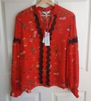 NWT Derek Lam 10 Crosby Womens Sheer Red Floral Silk Blouse Top Shirt Size 10