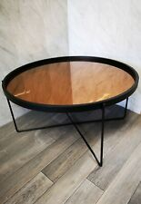 Contemporary Rose Gold Coffee Table - Modern Copper Circular Glass - Black Frame