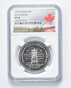 SP69 1977 Canada $1 Silver - Silver Jubilee - Graded NGC *863