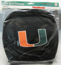 NCAA NWT HEAD REST COVERS -SET OF 2- MIAMI HURRICANES