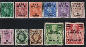 Great Britain (Somaliland) Sc #10-20 (1948) KGVI Surcharges Mint VF H